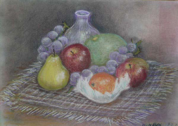 still-life. fruits & jar